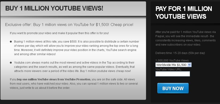 How to buy real YouTube views, likes and subscribers with credit